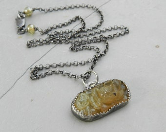 Vintage  Oval Amber Shades Pressed Glass Flower Cabochon and Handmade Sterling Necklace--Layering-Bouquet