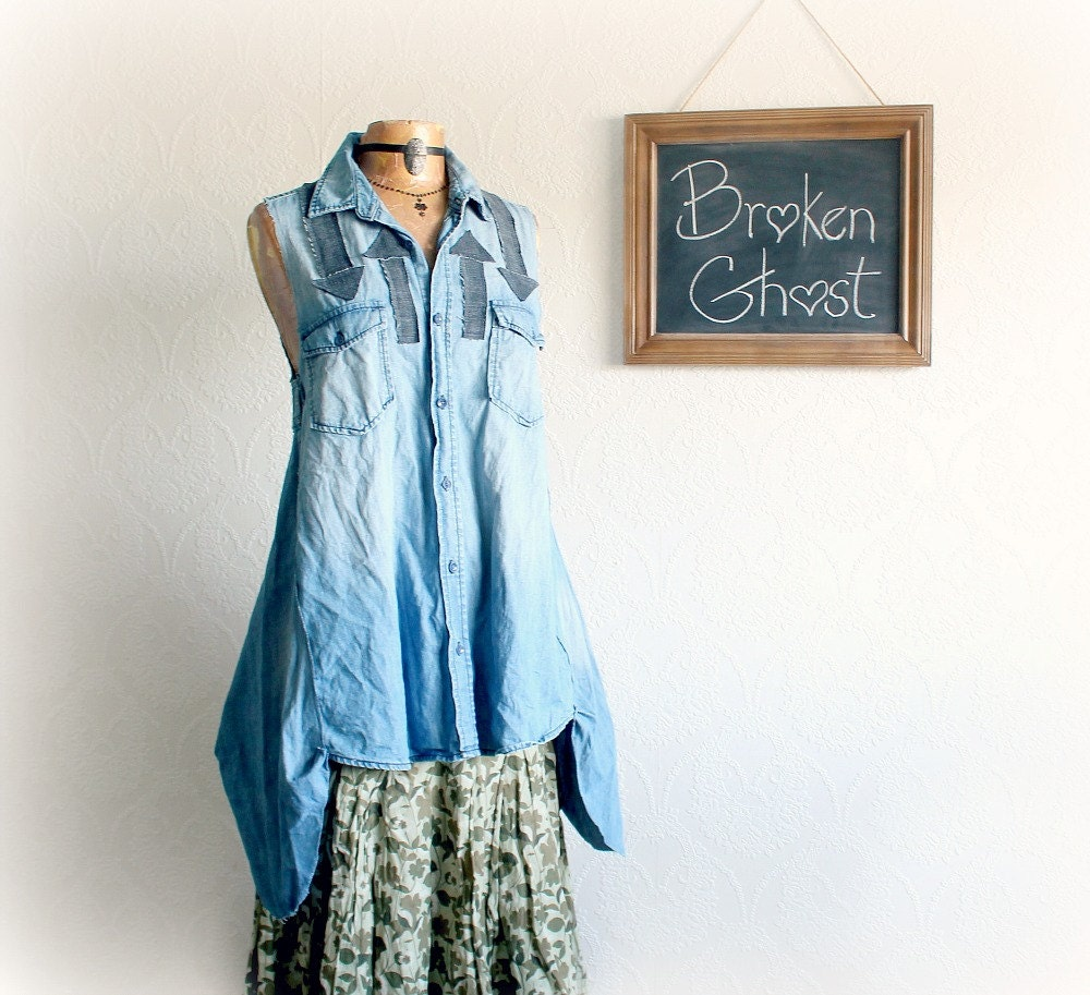 Rustic Denim Shirt Reconstructed Top Boho Chic Clothing Arrow