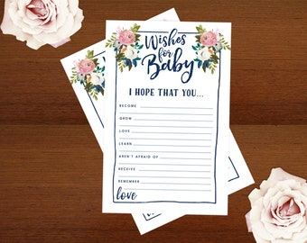 Baby Shower Games | DIY Wishes for Baby Cards | Printable | Instant Download | Muted Blooms Floral Shower Games