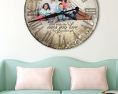 Personalized Clock, Photo Clock, Wall Clock, personalized photo gifts, large wall clock, wedding decor