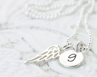Calling All Angels   Silver Angel Wing Initial Necklace   Personalized Jewelry   Guardian Angel   Faith Memory Love   Christina Guenther