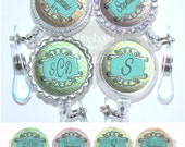Chevron and Doodle Frame Retractable Badge Reel Id Holder in 4 Colors, Personalized Name, Monogram, Occupation, Initial (A368)