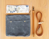 Waxed Canvas Crossbody Bag in Grey with Vintage Style Floral Lining and Leather Strap, Choose Your Lining and Strap Length, Made in USA,