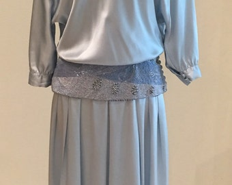 1980s Vintage Silk Dress - Pale Blue with Blue and Silver Beads - Fancy Waistline - Flapper Style - Blouson Top - by Alyce Designs - 40 Bust
