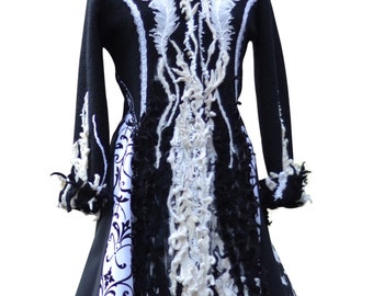 Black white long patchwork Corset style sweater Coat with beaded lace appliqués. Size Large. Ready to ship