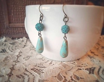 Boho Chic Drop Earrings Greek and Czech Glass Beaded - The Mediterranean Isles.