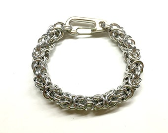 Silver Chain Bracelet. Cool Mens Bracelet.Chainmaille Jewelry. Metal Chainmail Bracelet. Unisex Bracelet. Byzantine Bracelet. Gift for Him.