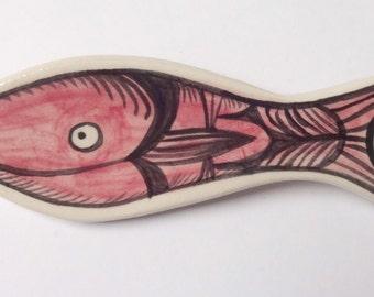 Pink fish brooch