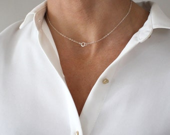Delicate Silver Choker necklace - fine sterling silver chain - short layering necklace