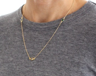 Triple Gemstone and Gold necklace - delicate gold chain necklace