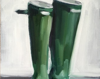 Green Wellies • original oil painting 7 x 5""