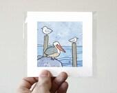 Pelican, Gull, and Tern Mini Art Print, coastal water birds illustration