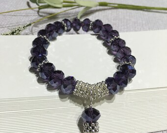 Bracelet-Beaded Stretch-Amethyst Purple Crystals-Stacked Silver Daisy Spacers-Charm Dangle-February Birthday-Wrist Under Size 7-Birthstone