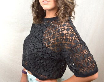 Vintage 90s Mesh Black Cropped Summer Beach Tee Shirt Tshirt