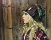 Crochet Ribbed Brim Slouchy Slouch Crochet Beanie Hipster Hat - ||DEEP WOODS|| - Forest