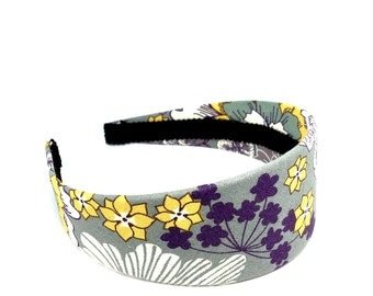 Wide Floral Headband for Autumn and Fall - Charcoal Gray, White, Mustard, Purple - Preppy 2 inch Fall Headband for girls and adults