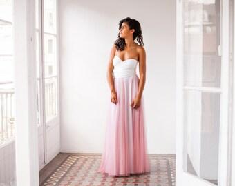 Modern wedding dress, multi way wedding dress with tulle, pink tulle wedding dress, light pink wedding dress, wedding dress with tulle skirt