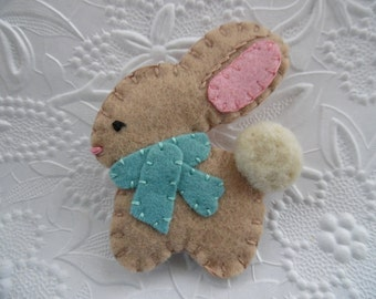 Felt Brooch Bunny Teal Scarf Wool Felted Coat Pin Christmas WInter