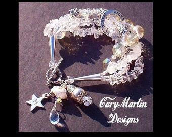 Crystal Magick Goddess Bracelet, White Topaz, Rock Crystal, Heirloom Silver Bracelet, Goddess, Affirmation, Swarovski & Mystic Rock Quartz