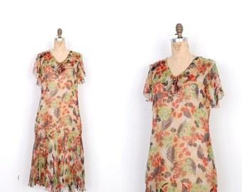 Vintage 1920s Dress / 20s Silk Chiffon Floral Print Dress / Green and Yellow (medium M)