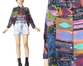 Vintage Neon Abstract Print Blouse 80s 90s Psychedelic Shirt Colorful Long Sleeve Button Down Shirt Multi Color Printed Black Blouse (M/L)