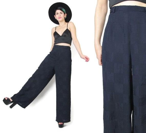 Navy Blue Palazzo Pants Wide Leg Pants Womens Dress Pants Dark