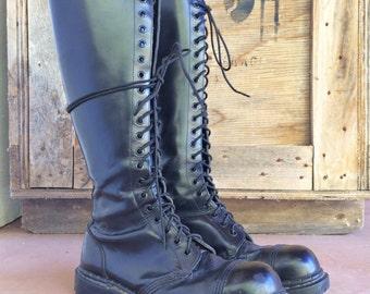 Vintage Gripfast Made in England UK Size 9 (Men's US 9.5, Women's US 11) linesman black combat boots, steel cap toe goth rocker grunge boots