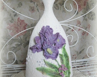 Clay Flower Vase Decor Ceramic Vase Art Vase White Vase Decorative Vase Floral Vase Large Vase Unique Purple Flower Sculpture Wedding Gift