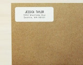 Return Address Labels - Design #08, Minimalist Text Address Labels, Kraft Labels, Custom Printed Labels, Personalized Labels, Rustic Wedding