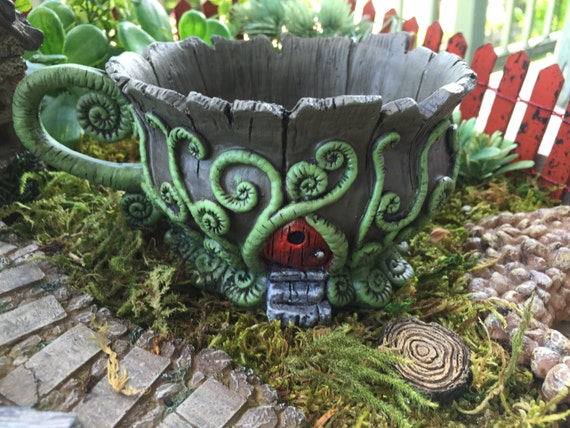 Woodland Fairy Tea Cup Planter, Flower Pot With Red Door, Fairy Garden Accessory, Miniature Gardening, Home & Garden Deco