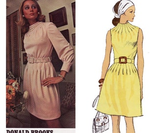 DONALD BROOKS Funnel Neck Dress Vogue Americana 2263 Vintage 70s Sewing Pattern Size 14 Bust 36 UNCUT Factory Folds