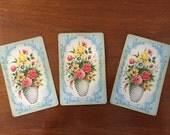 3 vintage playing cards - EPHEMERA GRAB BAG - floral Arrco cards, Chicago, Illinois - scrapbook, junk journal, mixed media, single swap card