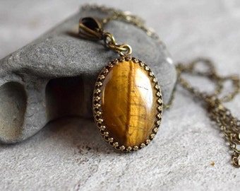 Natural Tigers Eye Necklace Tigers Eye Pendant Golden Brown Necklace Gemstone Pendant Cabochon Antique Brass Bezel Bohemian Style Gift