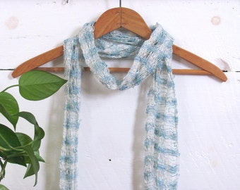 Lightweight Lacy Summer Scarf, Pearl White & Sky Blue Scarf, Casual Coastal Beach Cottage Chic Cocktail Womens Fashion, Hand Woven Scarf