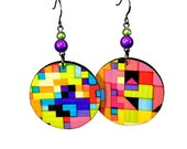 Geometric Patterned Colorful Earrings, Dangle, Duct Tape Jewelry