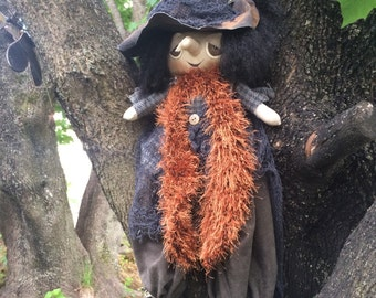Handmade Primitive Finished Witch Doll