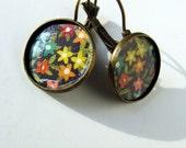 COLORFUL FLOWER Handmade Artisan Leverback Earrings