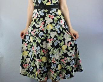 Vintage 90s does 50s Women's Floral Fruit Lemons Print Midi Cotton Halter Sleeveless Day Dress