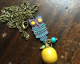 Bohemian Owl Necklace - Boho chic Owl - Owl charm necklace - hand painted - EPSTEAM - Modern Owl Jewelry necklace - Painted Owl jewelry
