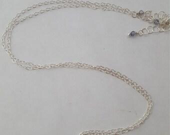Confetti sunstone and iolite wire wrapped briolette necklace