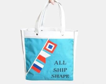 Vintage 60s NAUTICAL Flag Print Tote PURSE / 1960s Vinyl Novelty All Ship Shape Tote Bag
