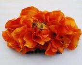 Beautiful bright orange hydrangea hair comb vintage rockabilly style wedding 40s 50s pin up fascinator hairflower haircomb