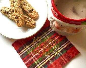 Merry Merry Plaid Gold Foil Cocktail Napkins Set