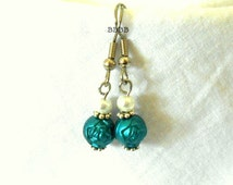 Teal Rose Flowers and Pearl Dangle Drop Earrings - Surgical Steel French Hooks SUPER SALE USA