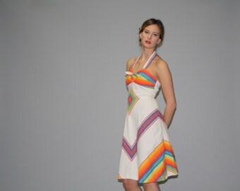 Vintage 1960s Chevron Rainbow Southwestern Festival Dress - 60's Hippie Rainbow Halter Dress - Vintage Hippie Dress WD0634