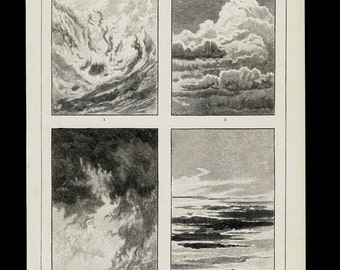 1896 Antique print of CLOUDS. Metereology