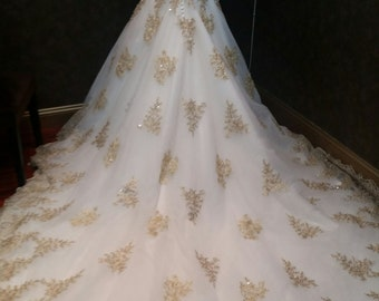 Gold and White Wedding Dress Lace and Beaded Sweetheart Neckline with Train