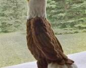 Needle felted American Bald Eagle, Eagle sculpture, wool Bald Eagle sculpture
