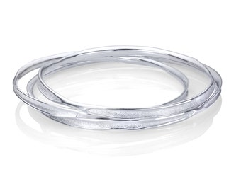 Fluid Nature Organic Bangle Bracelet - Sterling Silver - Stacking Bracelets