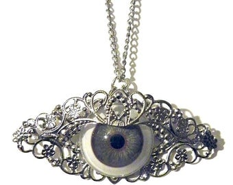 Silver Glass Eye Necklace Large Gothic Steampunk Human Eyeball Metal Lace Filigree Goth Steam Punk Cosplay Gift Wedding Costume Chain Bride